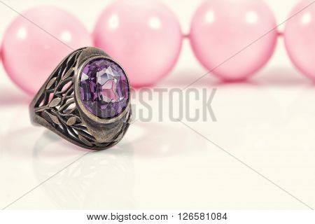 Vintage Silver Ring With A Large Amethyst