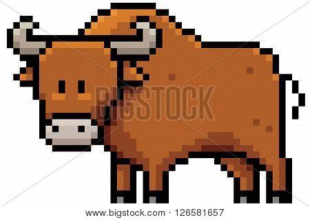 Vector illustration of cartoon bull - Pixel design