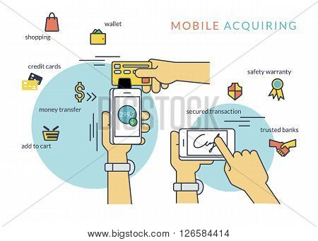 Mobile acquiring with signature via smartphone. Flat line contour illustration of payment via smartphone app