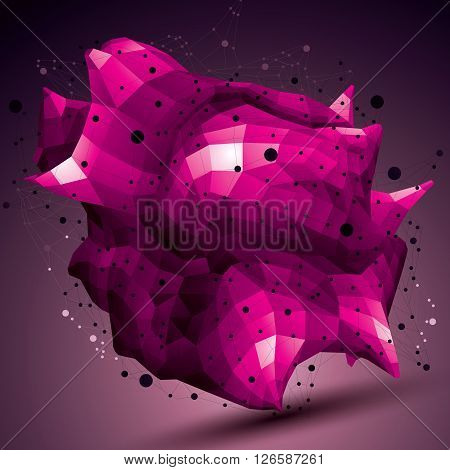 Spatial Vector Colorful Digital Object, Purple 3D Technology Figure With Geometric Elements And Wire