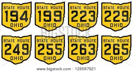 Collection Of Historic Ohio Route Shields From 1920 Used In The United States