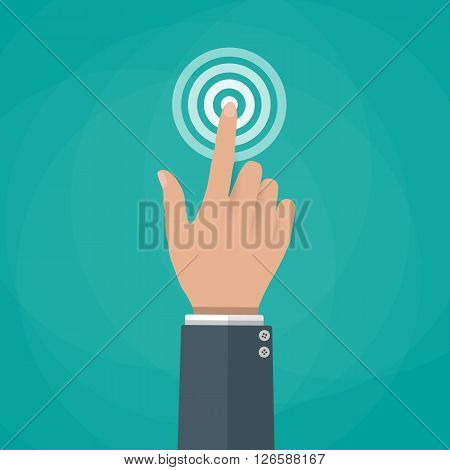 Hand touch. finger presses. Touch, push or press sign. vector illustration in flat design on green background