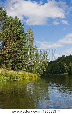 beautiful summer landscape on the river summer day, Russia