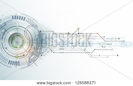 Vector Abstract futuristic eyeball on circuit board Illustration high computer technology on light color background. Hi-tech digital technology concept