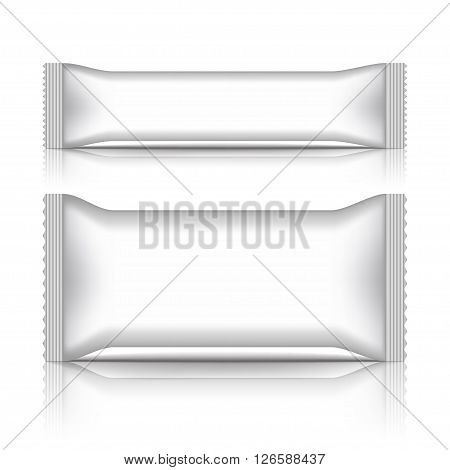 White blank sachet packaging stick pack isolated on a white background
