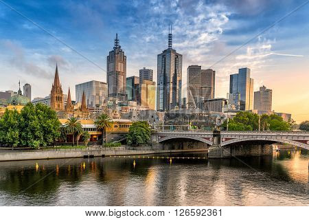 Looking across the Yarra River to the city of Melbourne