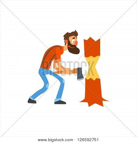 Profession Woodcutter Primitive Cartoon Style Isolated Flat Vector Illustration On White Background
