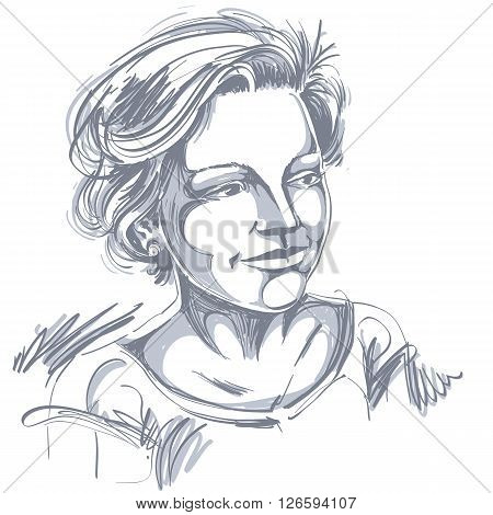 Hand-drawn vector illustration of beautiful romantic woman. Monochrome image expressions on face of young lady with short hair.