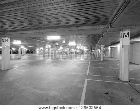 Deserted underground concrete car park monochrome Melbourne 2016