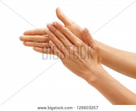 Clapping! Women's hands going to applause isolated on white background. High resolution product. Close up