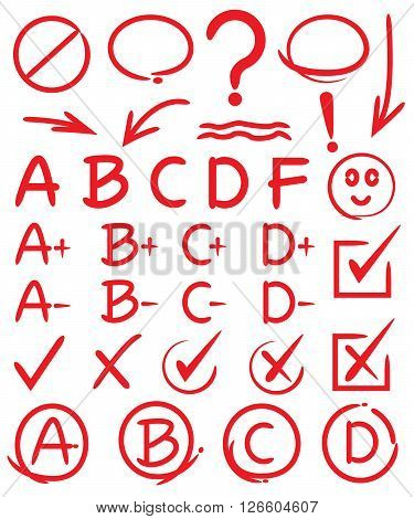 collection of design elements red circle markers grade results ticks