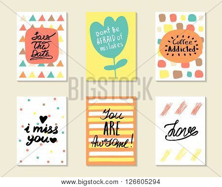 Cute hand drawn doodle postcards cards covers with different elements and quotes including love i miss you you are awesome coffee addicted save the date. Positive printable templates set