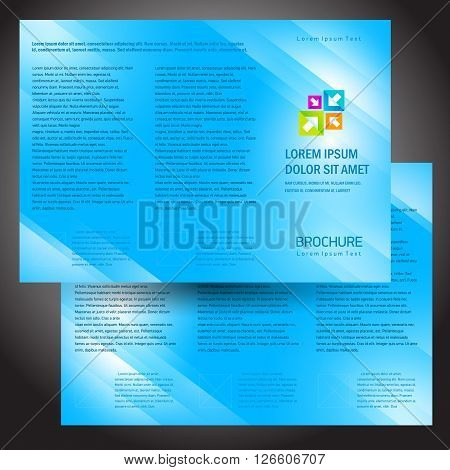 Business brochure design template, folder colorful design vector blue