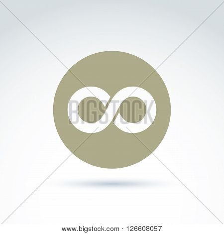 Vector infinity icon isolated on white background illustration of an eternity symbol placed in a circle.