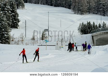CELERINA SWITZERLAND - FEBRUARY 08 2016: Cross country skiers close to the village of Celerina near St Moritz in the Engadin valley.