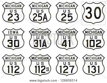 Collection Of Historic State Route Shields Used In The Usa