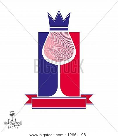 Royal decorative symbol with monarch crown and curved ribbon art goblet best for use in graphic design. Imperial coat of arms, stylized coronet wineglass illustration.
