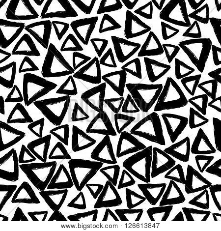 Vector seamless pattern with careless strokes in the form triangles. Abstract background made using of brush smears. Black and white hand drawn texture.