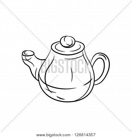 Teapot hand draw illustration on white background - stock vector