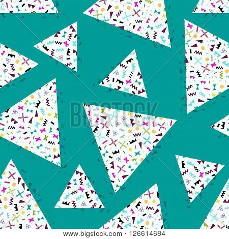 seamless background with geometric triangles the design of the 80 s - vector illustration. Retro group Memphis. Background of geometric shapes