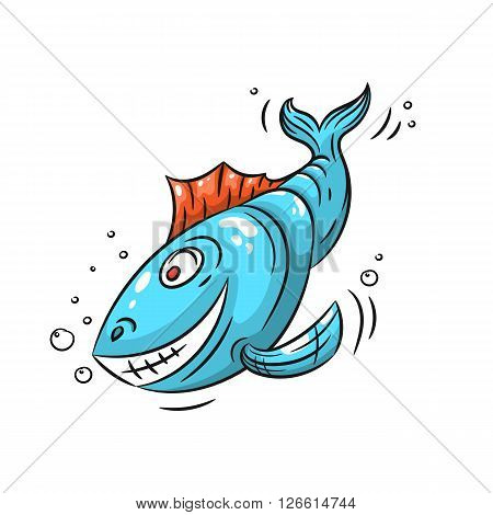 A fish. Blue fish with a smile on a white background - stock vector