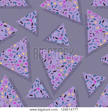 seamless background with geometric triangles the design of the 80 s - vector illustration. Retro group Memphis. Background of geometric shapes. Lilac purple background.