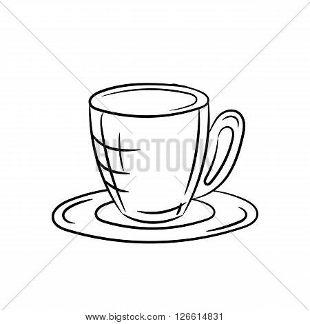 Hand draw cup and saucer on a white background - stock vector