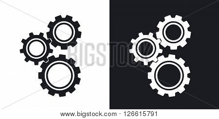Gears or settings icon stock vector. Two-tone version on black and white background