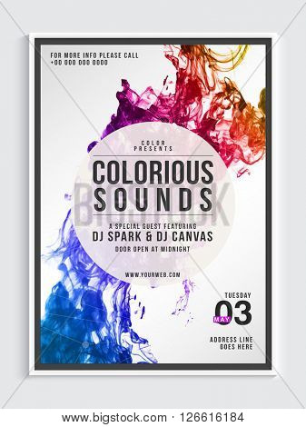 Musical Party Template, Dance Party Flyear, Night Party Banner or Club Invitation with colorful abstract design.