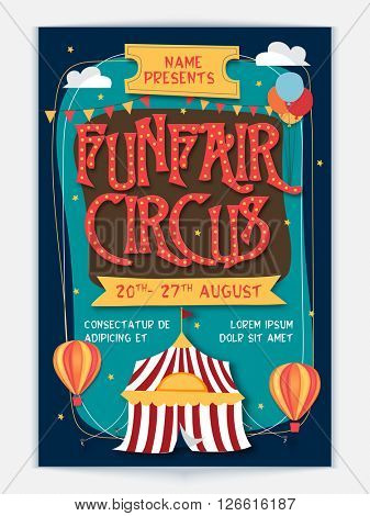 Funfair Circus Template, Banner or Flyer design. Creative colorful vector illustration.