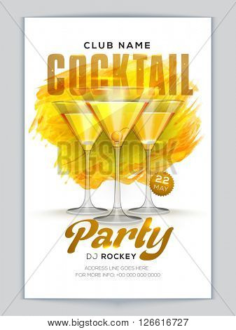 Golden text Cocktail Party with glossy glasses, Creative Cocktail Party Template, Musical Party Flyer, Night Party Banner or Club Invitation design.