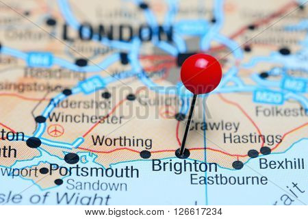 Brighton pinned on a map of UK