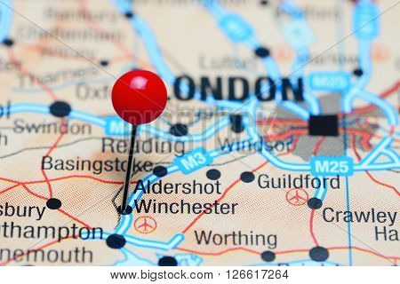 Winchester pinned on a map of UK