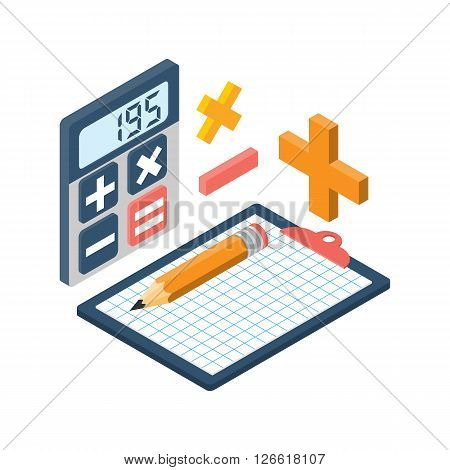 Calculation Isometric. Vector