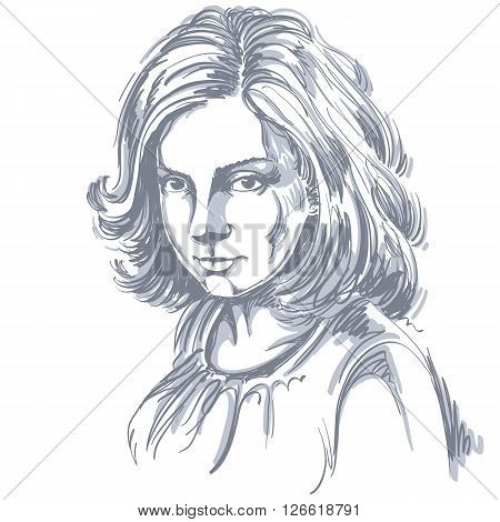 Vector Art Drawing, Portrait Of Gorgeous Romantic Girl Isolated On White. Facial Expressions, People