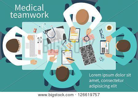 Medical team doctors at desktop. Diagnostic medical equipment. Research documents. Medical healthcare concept. Teamwork of doctors. Group of doctors surgeons. Flat design vector. Banner web print poster