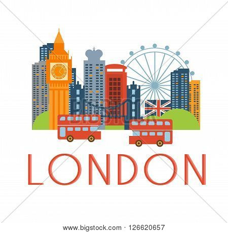 London Classic Toristic Scenery Flat Colorful Cartoon Style Illustration With Text On White Background