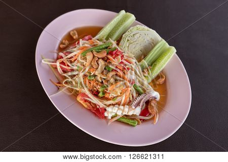 Green papaya seafood salad ( Som Tum )