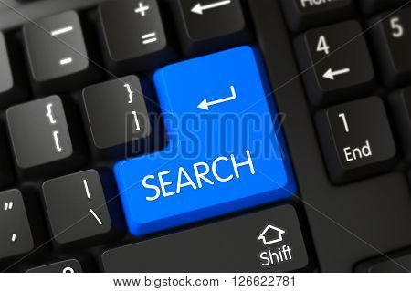 Modern Laptop Keyboard with the words Search on Blue Key. Blue Search Button on Keyboard. Search on Black Keyboard Background. Search Button on Modernized Keyboard. 3D.