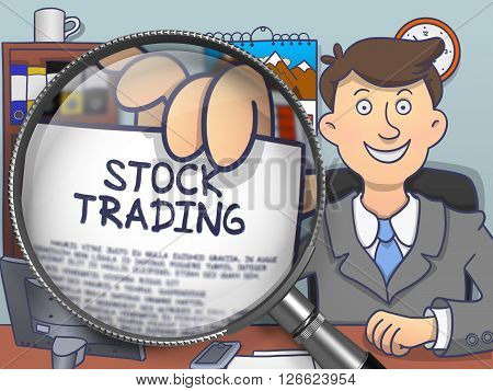 Businessman Sitting in Office and Showing Paper with Concept Stock Trading. Closeup View through Magnifier. Multicolor Modern Line Illustration in Doodle Style.