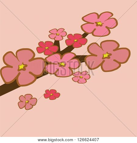 Cherry Blossom branch illustration vector pink tone spring tone