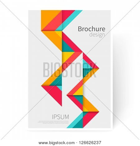 Brochure, leaflet, flyer, cover template. Modern Geometric Abstract background red, yellow & blue triangles. minimalistic design creative concept stock-vector 10 EPS