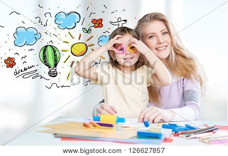 Drawing daughter mother elementary age well being girl beauty preadolescent child