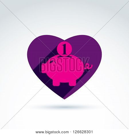 Vector heart with pink piggybank sign personal savings icon.