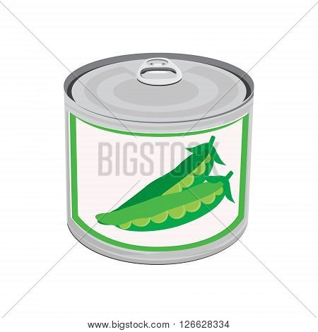 Vector illustration canned food. Sweet peas. Two peapod. Metal tin can