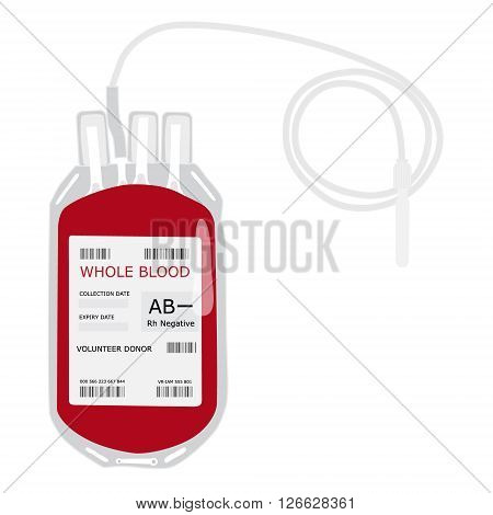Vector illustration blood bag with label AB negative blood isolated on white. Donate blood concept. Realistic blood bag