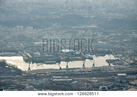 Kiev Ukraine - November 12 2010: aerial view to industrial district and harbor