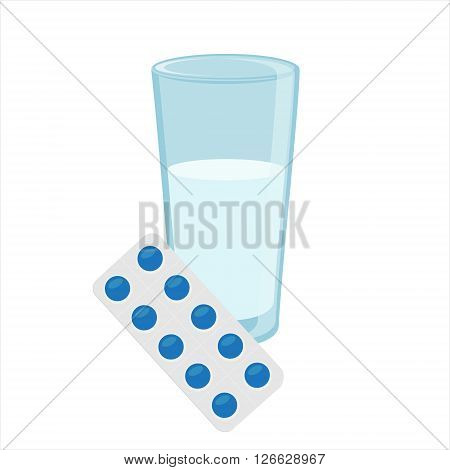 Vector illustration glass of water and blue pills blister. Tablet strip icon. Round pills in a blister pack