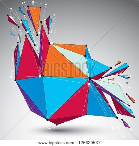 3D Vector Low Poly Object With Connected Lines And Dots, Colorful Geometric Wireframe Shape With Ref