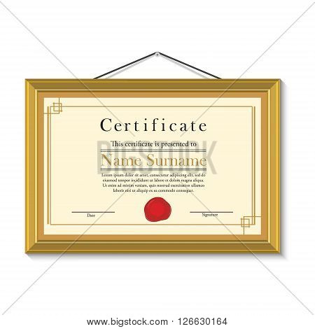 Vector illustration of certificate template with red wax stamp in golden picture frame hanging on the wall. Certificate border. Modern certificate